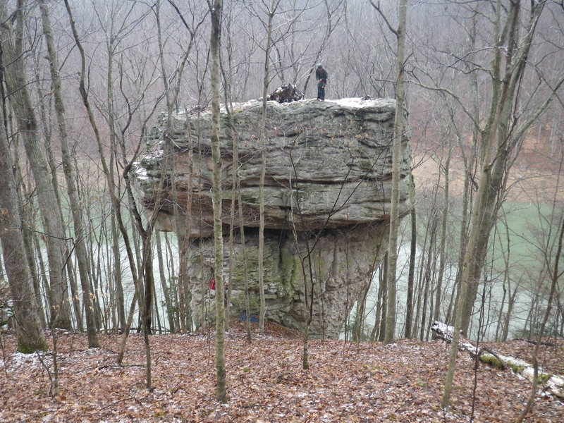 Rock Climbing Photo: The uphill side of the rock with Sutton lake down ...