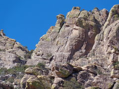 Rock Climbing Photo: Looking up at The north fin. Climber in center of ...