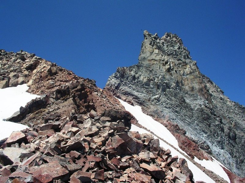 A view of the summit pinnacle taken below the saddle.
