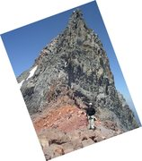 Rock Climbing Photo: Me on the saddle at the base of the pinnacle. Typi...