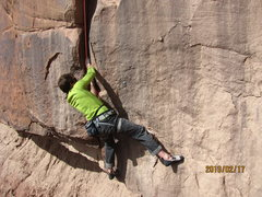 Rock Climbing Photo: The move at the bolt. It is the most powerful on t...