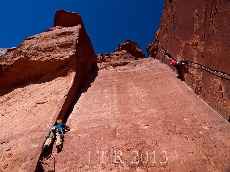 Rock Climbing Photo: Wide Boy 5.10a on Left, Deface Crack 5.10a on Righ...