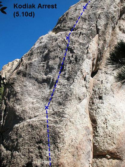 Rock Climbing Photo: Kodiak Arrest (5.10d), Holcomb Valley Pinnacles