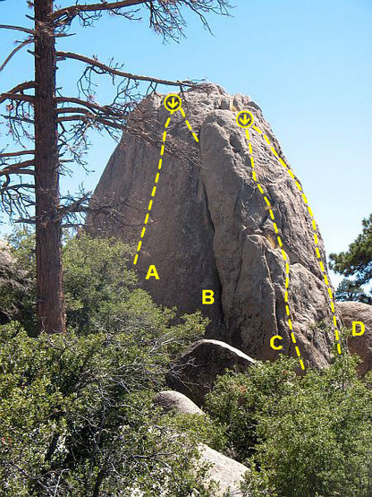 Vice Wall, Holcomb Valley Pinnacles <br> <br> A. Short Circuit (5.10d)<br> B. Left Bandana Crack (5.8)<br> C. Redman (5.11a TR)<br> D. Kodiak Arrest (5.10d)