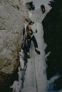Rock Climbing Photo: Jim Detterline at Buttonrock ice in warm temperatu...