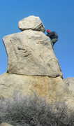 Rock Climbing Photo: Jon going up the Snowman Boulder in alpine style. ...