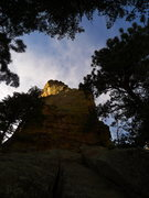 Rock Climbing Photo: Afternoon light; P1 is the crack near the right si...