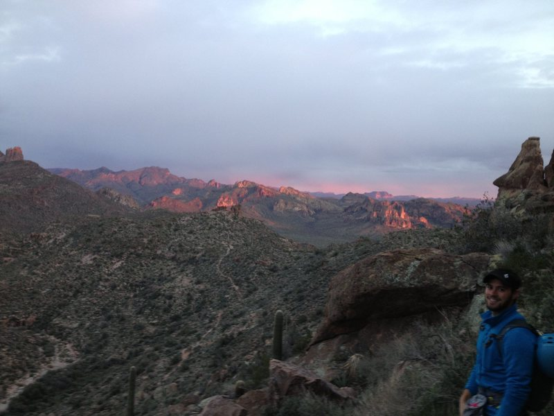 Love those Superstition sunsets.  <br> <br> Looking East from the base of Bark's Canyon Wall