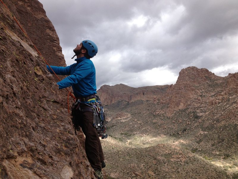 On the traverse at the beginning of pitch 2.