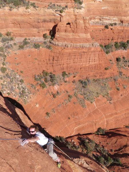 Rock Climbing Photo: Kyle finishing P3