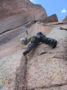 Rock Climbing Photo: Lisa starting up the crux pitch of RC.
