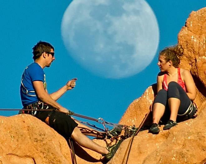 Rock Climbing Photo: Climbers on Montezuma's Tower, Colorado Springs.