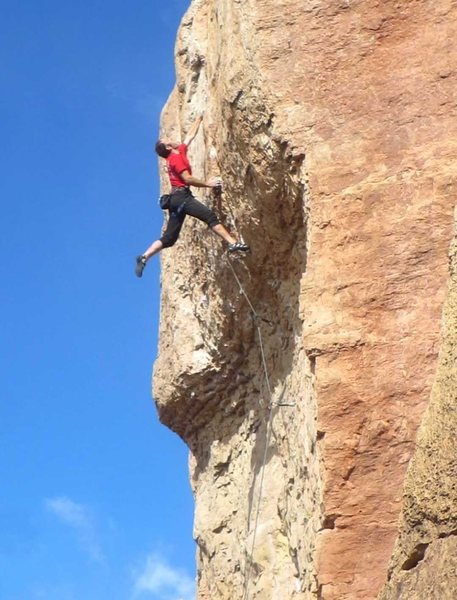 Rock Climbing Photo: Sticking the crux move.