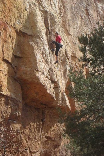Rock Climbing Photo: Cruising up the easy finger crack at the start.