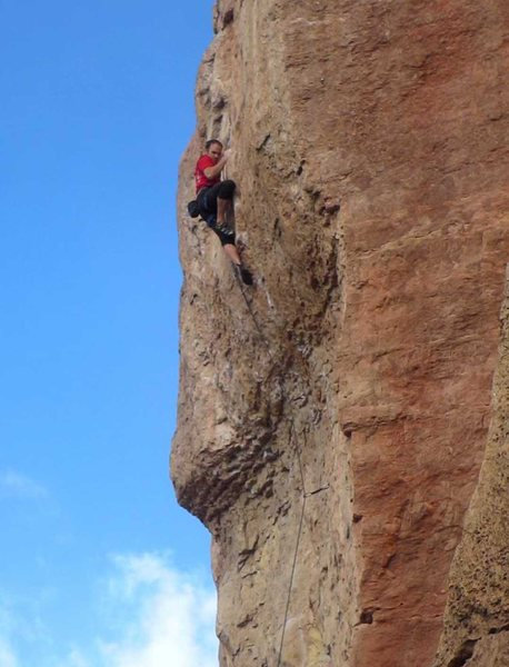 Rock Climbing Photo: The final tricky move above the crux.