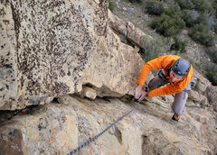 Rock Climbing Photo: Romain Wacziarg nears the top of the second pitch ...