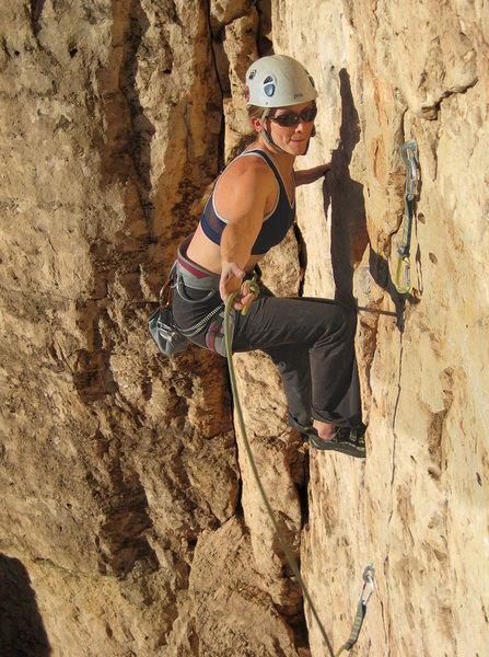 Rock Climbing Photo: Allison clipping on Purple Toe Nails, Shelf Rd.