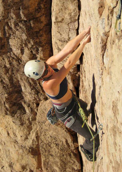 Rock Climbing Photo: Allison sussing out the moves for the first crux o...