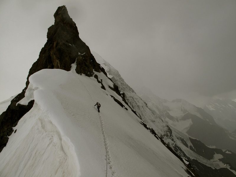 Descending the Eiger on the South Ridge.