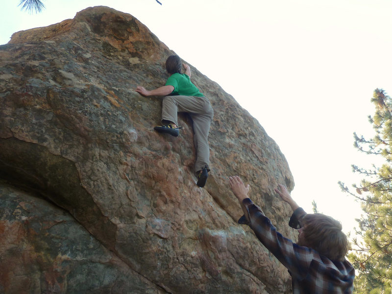Rock Climbing Photo: Keeping it together on the balancy topout for the ...