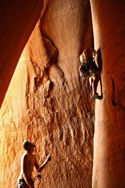 Zach on belay and me on the climb.