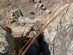 Rock Climbing Photo: Looking down the route from the chimney.
