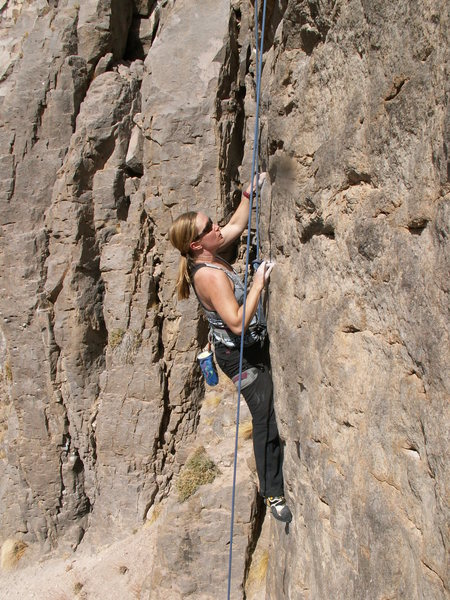 Rock Climbing Photo: Me toproping Warning Signs (5.10d).  What an aweso...