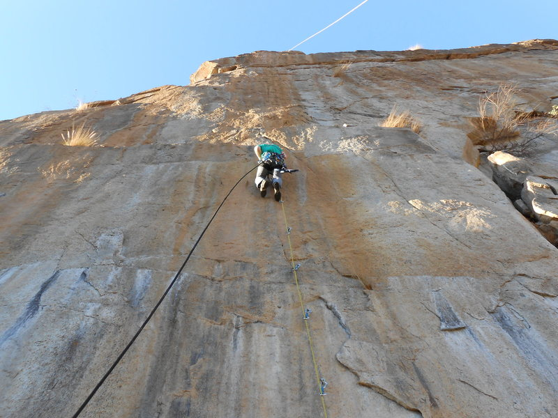 Rock Climbing Photo: Leading P1 of the bolt ladder