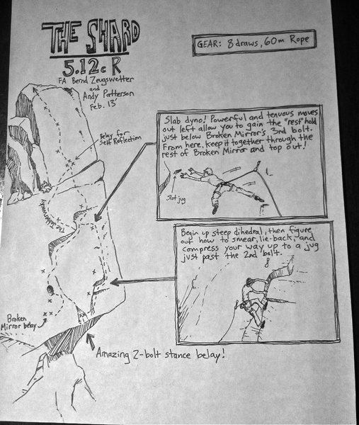 Rock Climbing Photo: Hand-drawn topo. Sorry, I can't afford a camera, a...