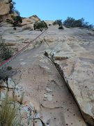Rock Climbing Photo: Looking up at the upper part of the route from the...