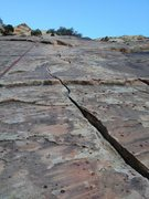 Rock Climbing Photo: Looking up the splitter finger crack from near the...