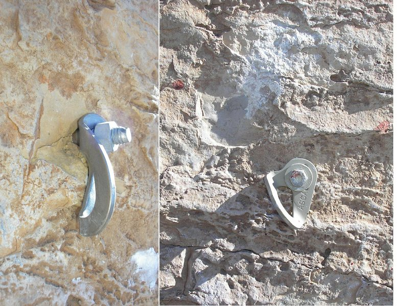 Rock Climbing Photo: Before/after of crux bolt.