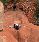 Rock Climbing Photo: We ran out of bolts so the first one is still out;...