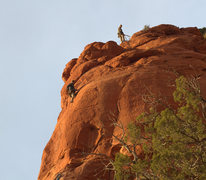 Rock Climbing Photo: Finishing p2 just as day ended.