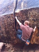 Rock Climbing Photo: Traversing past the crack