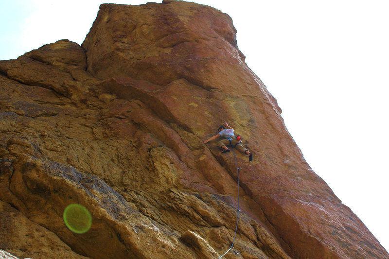 Partway up Equineimity at Smith Rock