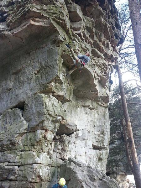 Rock Climbing Photo: Scott throwing a? ?   Toe!