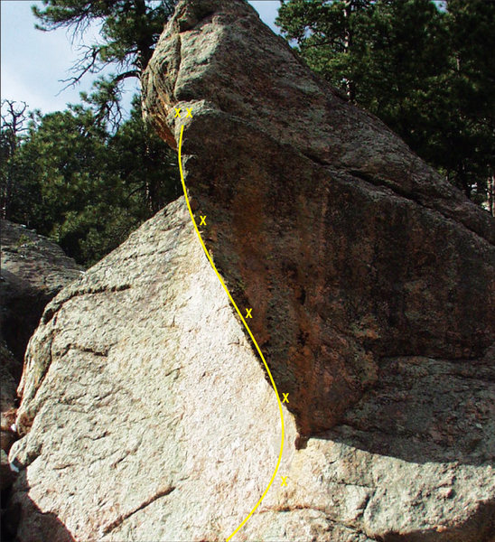 Rock Climbing Photo: The line of Gravities Rainbow, 12b, on the Drunken...