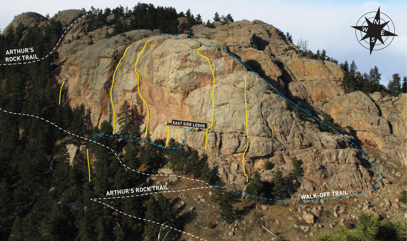 South Face of Arthur's Rock with a few of the classics lined in yellow.