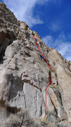 Rock Climbing Photo: The line is in red, the bolts are blue.