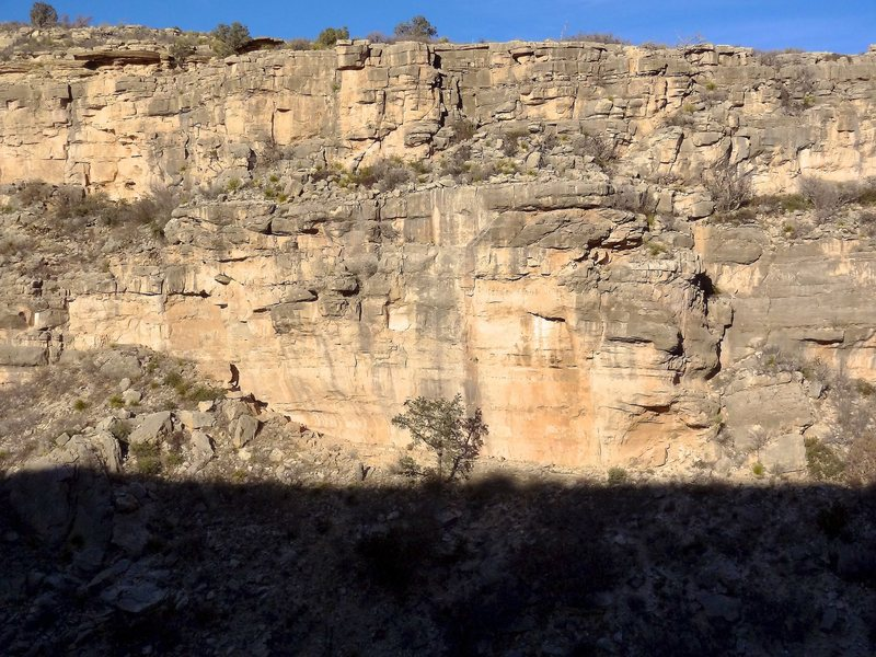 Rock Climbing Photo: Late day view of the wall on the hike out. With th...