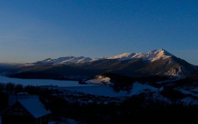 Sunrise over Tenmile range, Quandary on far left.
