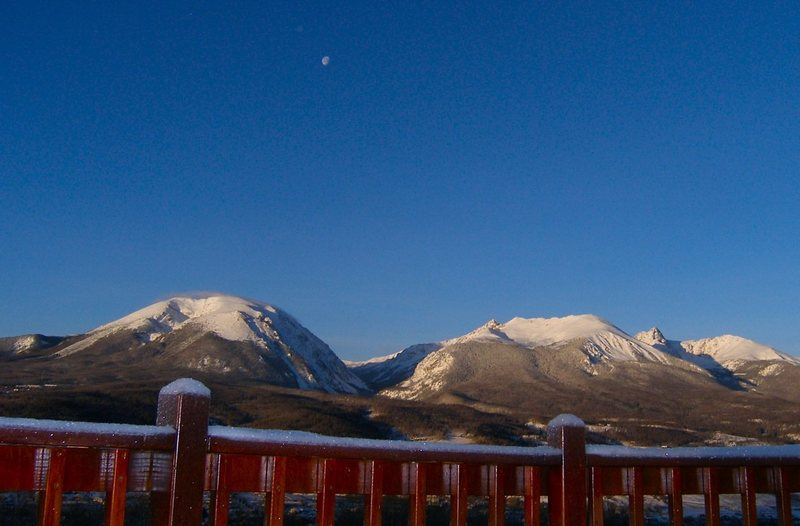 Sunrise and moonset, Buffalo and Gore Range.