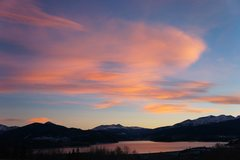 Rock Climbing Photo: Sunset over Tenmile Range, Quandary right of cente...