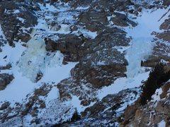 Rock Climbing Photo: Columbine Falls and the flow to climber's left.