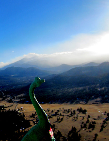 Alan, the traveling dinosaur, enjoying the view from the belay ledge.