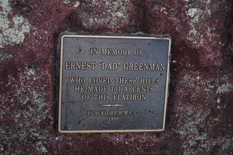 Plaque on the peak.
