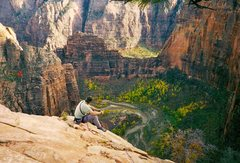 Rock Climbing Photo: Top out on Lunar Ecstasy - Zion's.  November 1997 ...