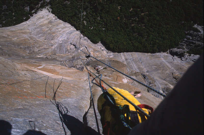 Rock Climbing Photo: Straight down from the middle of the headwall, 198...