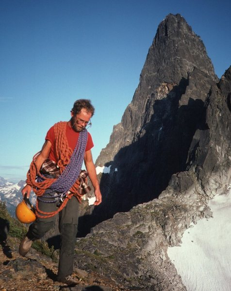 Rock Climbing Photo: On the descent ... NE Buttress behind (left skylin...
